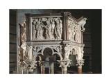 Italy, Tuscany, Pisa, Piazza Dei Miracoli, Baptistry of Saint John, Pulpit, 1260, Detail Giclée-Druck von Nicolaes Verkolje