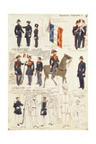 Various Uniforms of Republic of France Giclee-trykk av Rachel Ruysch