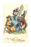 Glückwunsch Ostern, Osterhase Überreicht Ente Blumen Giclee Print