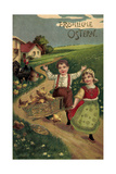 Präge Litho Glückwunsch Ostern, Kinder Mit Küken, Land Reproduction procédé giclée