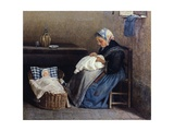 The Grandmother, 1865 Giclée-tryk af Silvestro Lega