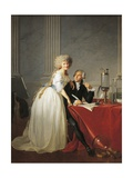 France, Portrait of French Chemist Antoine Laurent Lavoisier with Wife Giclée-tryk
