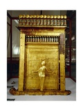 Treasure of Tutankhamen, Gilded Shrine of Canopic Jars or Canopic Chest from New Kingdom Giclée-tryk
