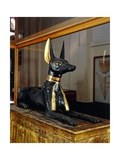 Treasure of Tutankhamen, Wooden Statue of Jackal God Anubis Upon a Gilded Chest from New Kingdom Giclée-tryk