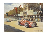 Alfa Romeo Car During Car Racing, Poster Giclee Print