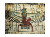Lacquered Wood, Depicting Goddess Isis with Spread Wings, on Sarcophagus of Cesraperet Giclée-tryk