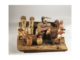 Egypt, Asyut, Bread Preparation, Wooden Model Giclée-tryk