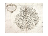 Bourbon Island, Reunion by Jacques-Nicolas Bellin, 1763 Giclée-tryk