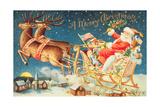 Santa in His Sleigh Giclee Print