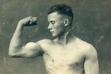 Portrait of a Bodybuilder, C.1898 Reproduction photographique
