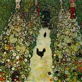 Garden with Chickens, 1916 Giclée-tryk af Gustav Klimt