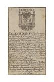 Stationers, James Adams, Trade Card Giclée-tryk