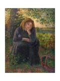 A Pensive Peasant Girl, 1892 Reproduction procédé giclée par Camille Pissarro