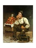 A Boy Eating Apples, 1878 Gicléedruk van John George Brown