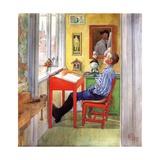 Esbjorn Doing His Homework, 1912 Giclée-tryk af Carl Larsson