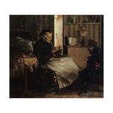 An Old Woman Knitting, C.1893 Gicléedruk van John George Brown