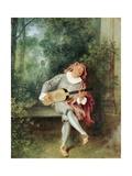 Mezzetino Giclée-tryk af Jean-Antoine Watteau