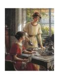 Detail from Women Having Tea Giclée-tryk af Albert Lynch