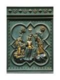 Baptism of Jesus, Tile Bronze Giclée-Druck von Andrea Pisano