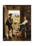 Tyrolean Couple Giclee Print by Emil Karl Rau