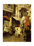 Promenade on an Indian Street Gicléedruk van Edwin Lord Weeks