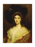Portrait of an Elegant Lady in a Black Hat Giclée-tryk af Albert Lynch