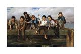 Boys Fishing, 1880 Gicléedruk van John George Brown