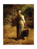 Woman Carrying Firewood and a Pail, C.1858-60 Giclee Print by Jean-François Millet