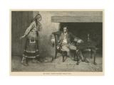 The Ojibway Maiden Disclosing Pontiac's Plot Gicléedruk van Howard Pyle
