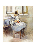 Girl Sewing Giclee Print by Theodore Robinson