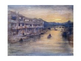 On the Great Canal, Osaka Giclee Print by Mortimer Ludington Menpes
