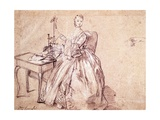 Lady Spinning Thread Giclee Print by Pietro Longhi