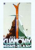 Reklame for Chamonix Mont-Blanc, sommer, vinter, på fransk Poster af Henry Reb
