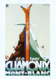 Reclameposter Chamonix met Franse tekst Kunst van Henry Reb