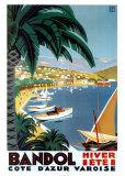 Bandol aan de Côte d'Azur, reclameposter met Franse tekst: Bandol Hiver Ete Poster van Roger Broders