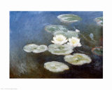 Nympheas Effet du Soir Posters por Claude Monet