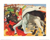 The Bullfight (gold foil text) Lámina por Pablo Picasso