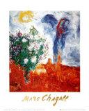 Couple au Dessus de St Paul Kunst af Marc Chagall