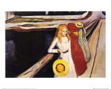Jeunes filles sur le pont Affiches par Edvard Munch