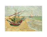 Barche da pesca sulla spiaggia di Saints-Maries, circa 1888 Stampe di Vincent van Gogh