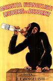 Reclameposter voor anijslikeur met tekst Anisetta Evangelisti, Liquore Da Dessert Posters