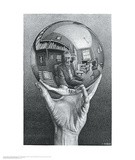 Main à la sphère réfléchissante Affiche par M. C. Escher