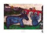 青いロバ ポスター : マルク・シャガール