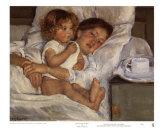 Petit déjeuner au lit : mère et enfant Affiches par Mary Cassatt