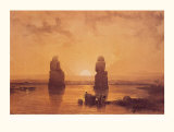 Statues of Memnon at Thebes Plakater af David Roberts