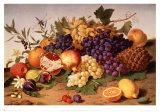 Naturaleza muerta de uvas, piña e higos Láminas por Adolf Senff