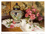 Roses with Temple Jar Posters by Francie Botke