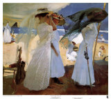 Under the Awning, Zarauz Poster by Joaquín Sorolla y Bastida