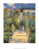 Artist's Garden at Vetheuil Posters by Claude Monet