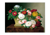 Still Life with Roses in a Basket Prints by Johan Laurentz Jensen